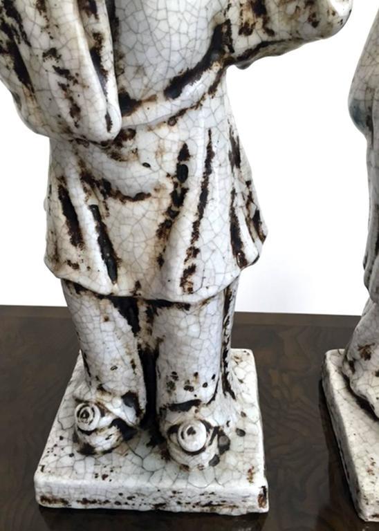 American Marcello Fantoni, 1950s, Italian, Pair of Ceramic Figures For Sale