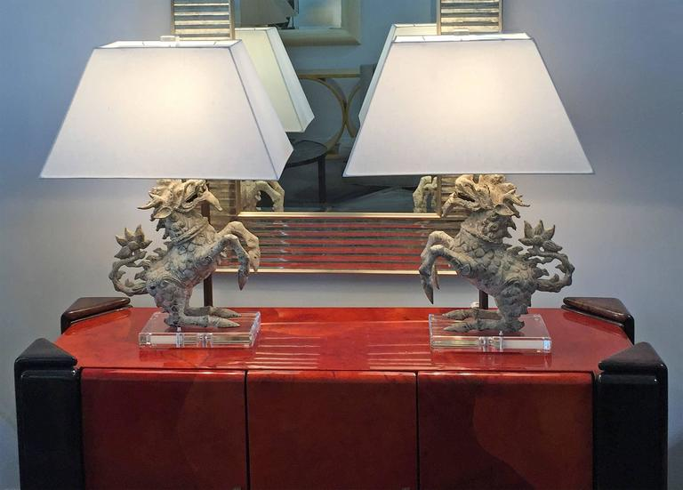 Pair of foo dog table lamps at 1stdibs pair of table lamps featuring patinated metal foo dogs mounted on heavy lucite bases new mozeypictures Image collections