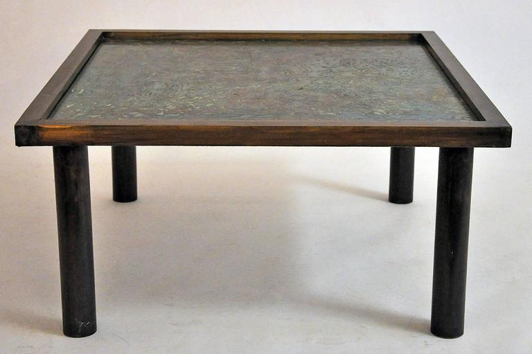 Mid-Century Modern Philip Laverne, Signed Custom, Bronze Table For Sale