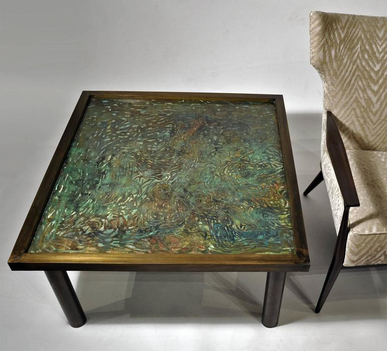 American Philip Laverne, Signed Custom, Bronze Table For Sale