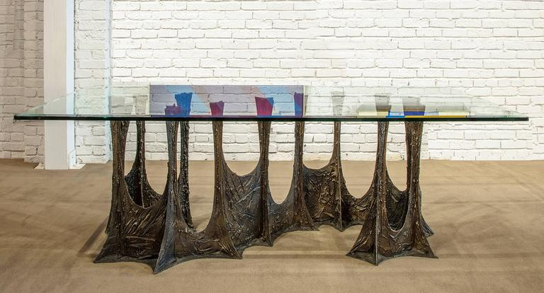 Mid-Century Modern Paul Evans Signed 'PE69' Sculpted Metal Dining Table For Sale