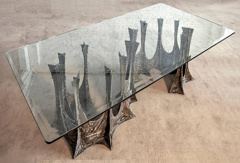 American Paul Evans Signed 'PE69' Sculpted Metal Dining Table For Sale