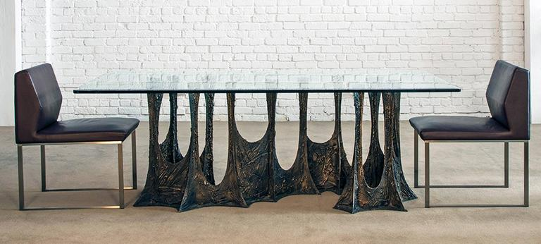 Hand-Crafted Paul Evans Signed 'PE69' Sculpted Metal Dining Table For Sale