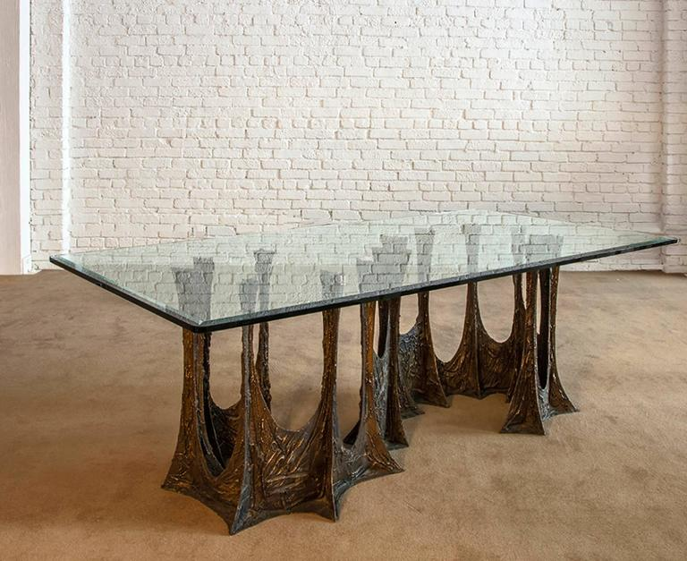 Paul Evans Signed 'PE69' Sculpted Metal Dining Table In Excellent Condition For Sale In Los Angeles, CA