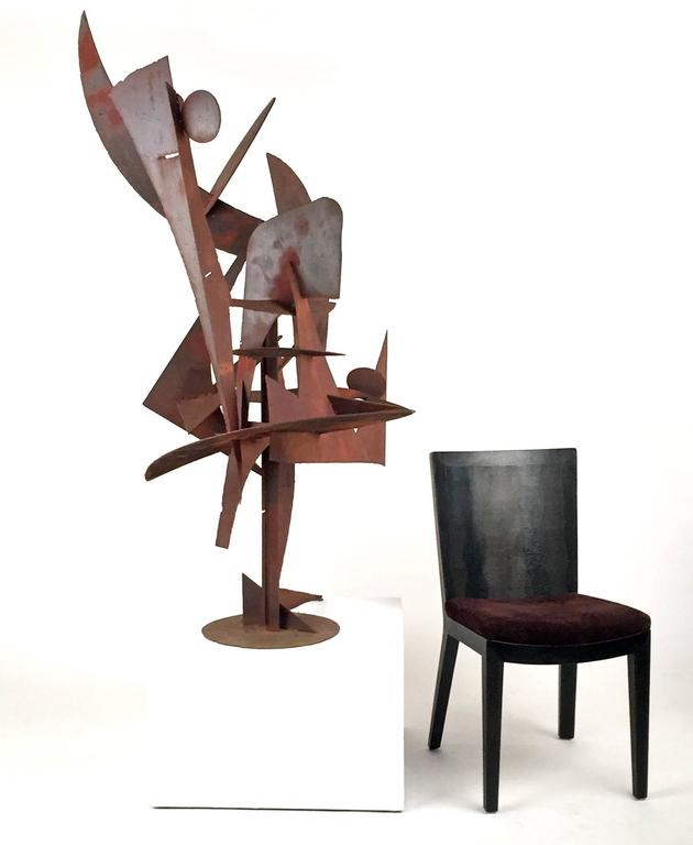 Large modernist, abstract, steel. Sculpture by Southern California artist: Paul Kasper. Kasper lived and worked in Whittier, California. He taught at Pasadena School of Fine Arts, Scripps, and Otis Art Institute. He was an architect, photographer,