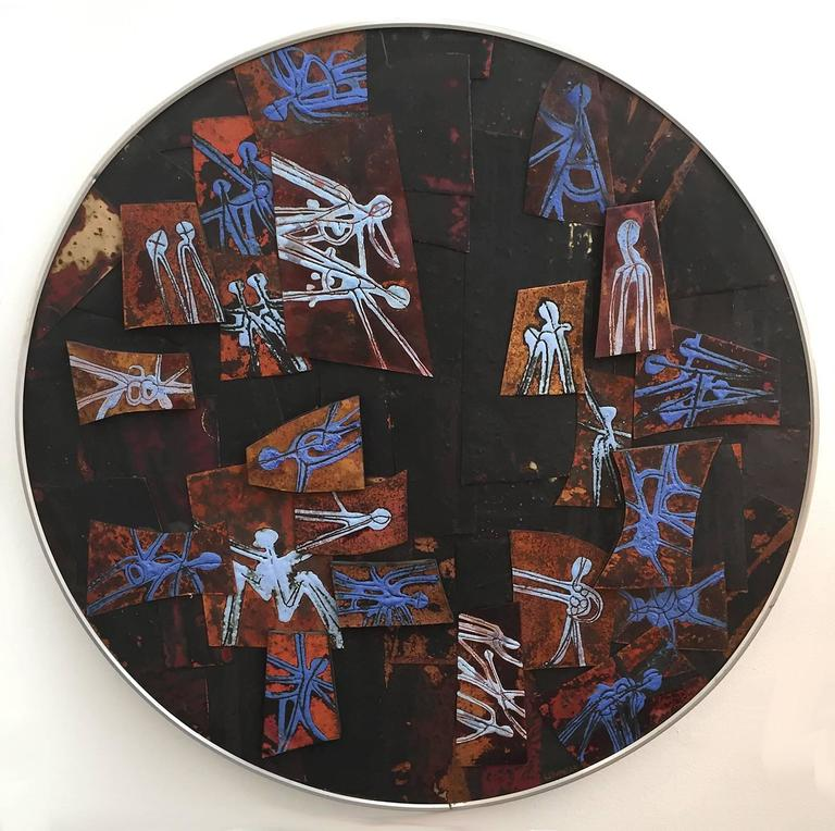 Fired Richard Maris Loving Modernist Enamel, 1964 For Sale
