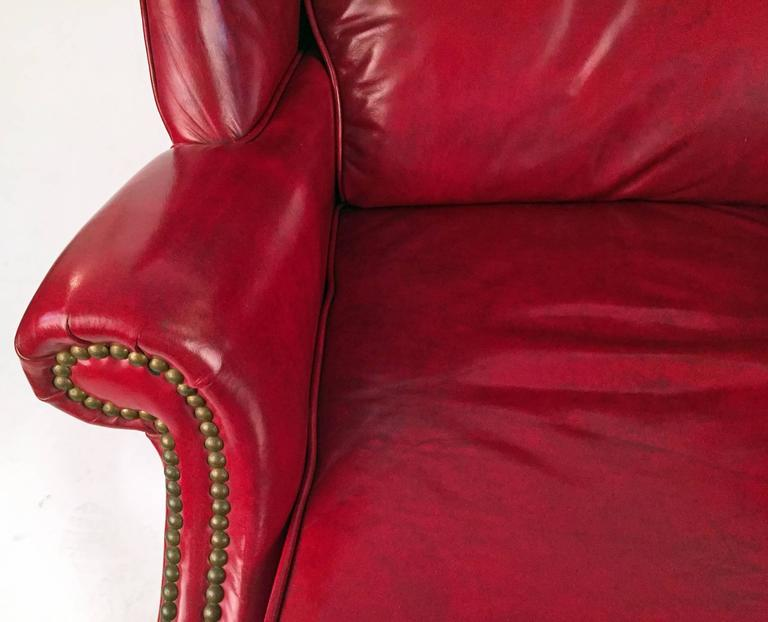 Club Chairs Pair in Matching Red Leather  2