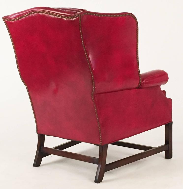 Club Chairs Pair in Matching Red Leather  3