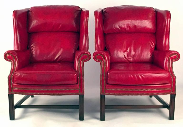 Club Chairs Pair in Matching Red Leather  5