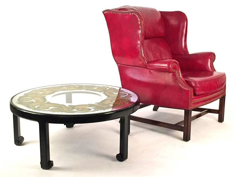 Club Chairs Pair in Matching Red Leather  6
