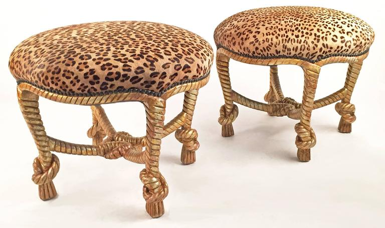 American Pair of Matching Leather and Carved Wood Stools For Sale