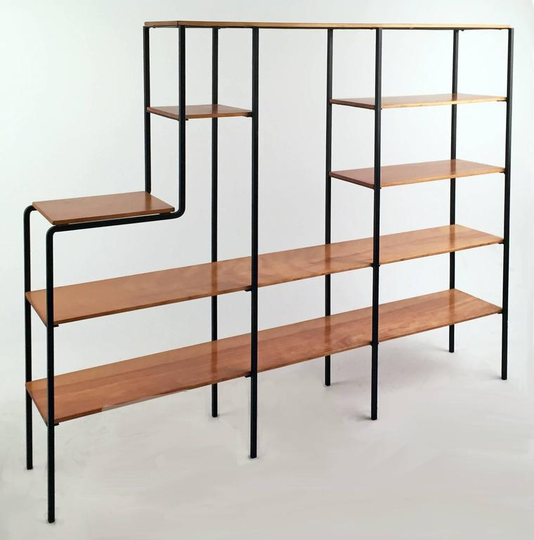 Mid-Century Modern bookshelf with Iron frame and solid maple wood. Handcrafted.