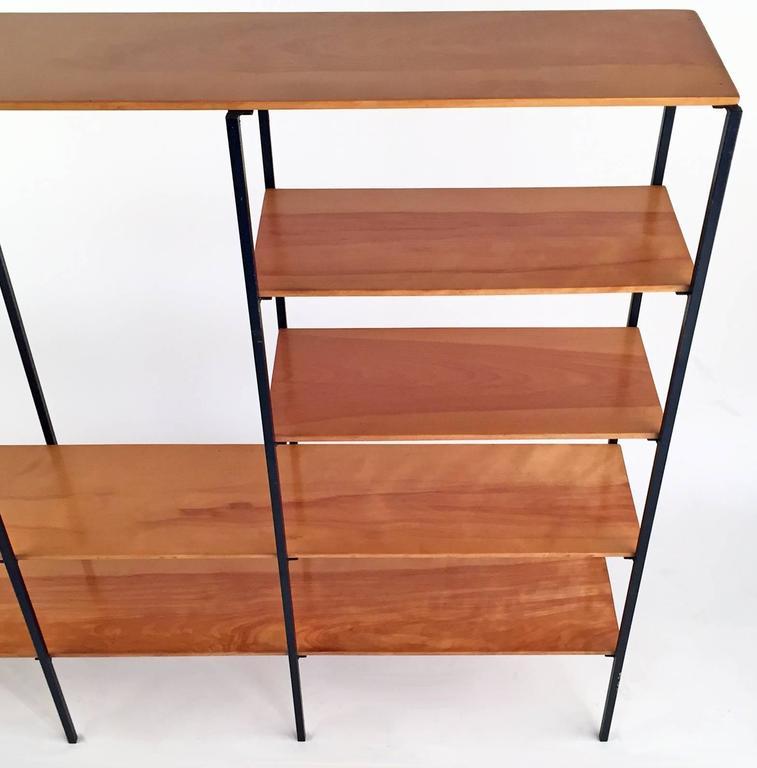 American Mid-Century Modern Wood and Iron Bookshelf For Sale