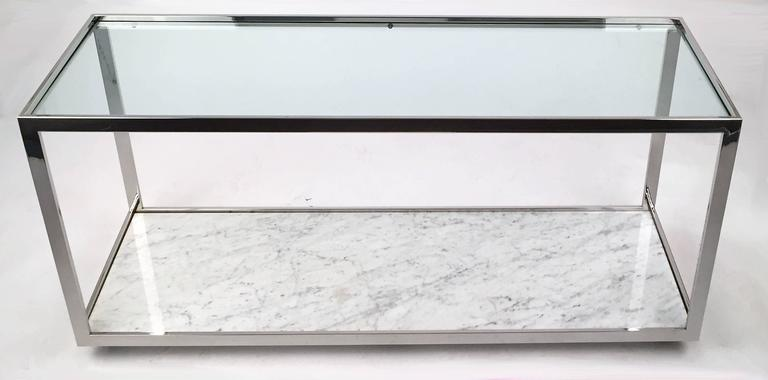 Console Table Polished Chrome Glass and Marble 3