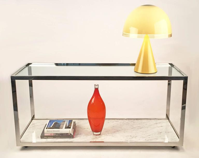 Console Table Polished Chrome Glass and Marble 5
