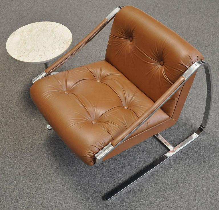 Modern Lounge Chairs by Brueton 1970s Pair of Steel and Leather
