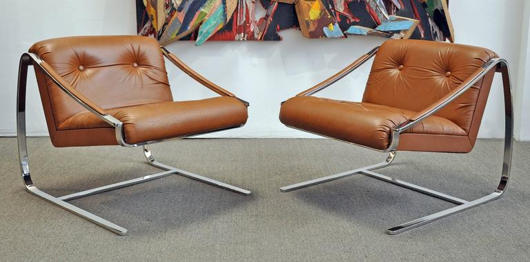 American Lounge Chairs by Brueton 1970s Pair of Steel and Leather