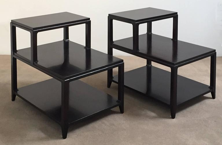 American Pair of Mid-Century Lacquered Step Tables For Sale