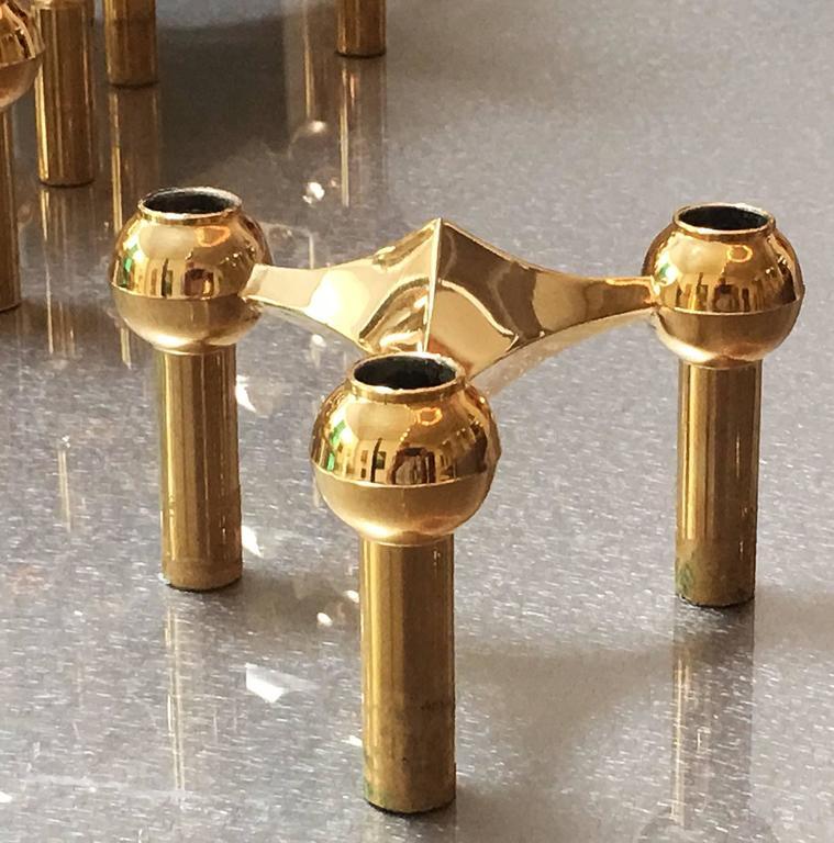 German 1960s Brass Modular Candleholder For Sale