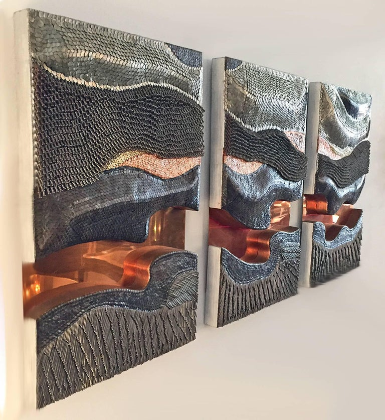 Brutalist Tryptic Metal Wall Sculpture 6