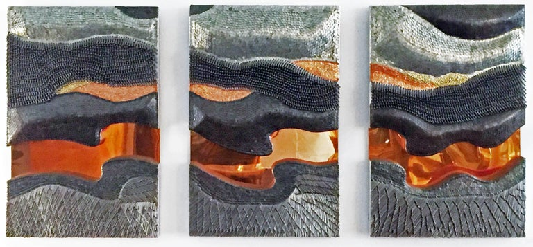 Brutalist Tryptic Metal Wall Sculpture 8