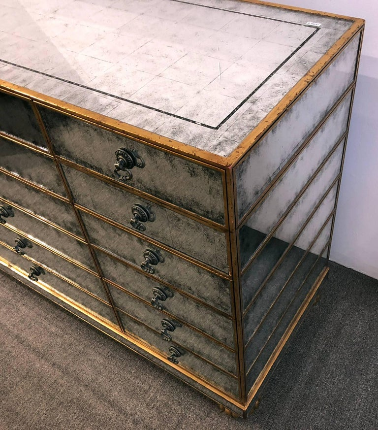 American Mirrored Dresser with 18 Drawers For Sale