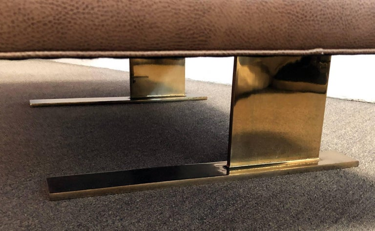 Architectural  Bench with Polished Brass  3
