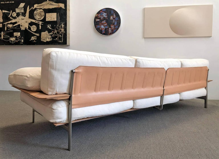 Upholstered, nickel-plated metal, leather and canvas 'Diesis' sofa by B & B Italia, designed by Antonio Citterio and Paolo Nava, 1979.
