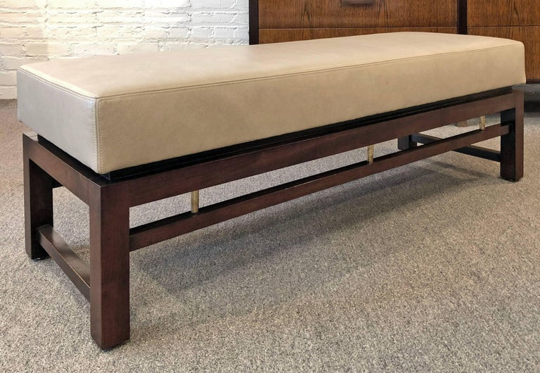 Mid-Century Modern Dunbar Pair of Upholstered Benches Designed by Edward Wormley For Sale