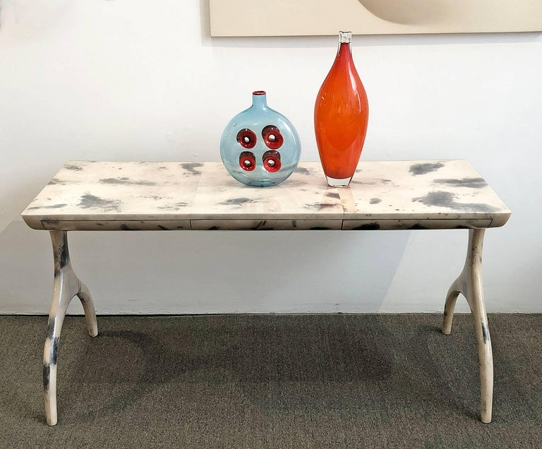 Hand-Crafted Console Table or Desk with Drawers For Sale