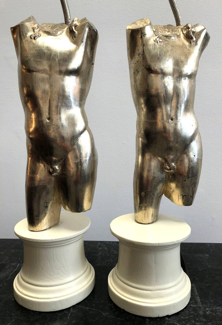Hollywood Regency Pair of Male Torso Lamps For Sale