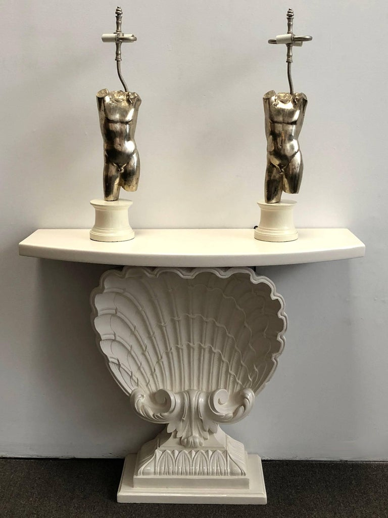 Italian Pair of Male Torso Lamps For Sale