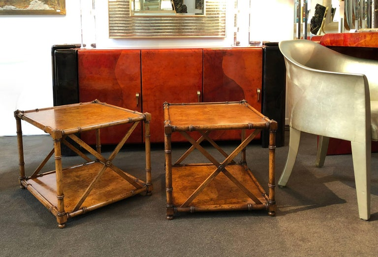Hand-Crafted Pair of Side Tables  For Sale