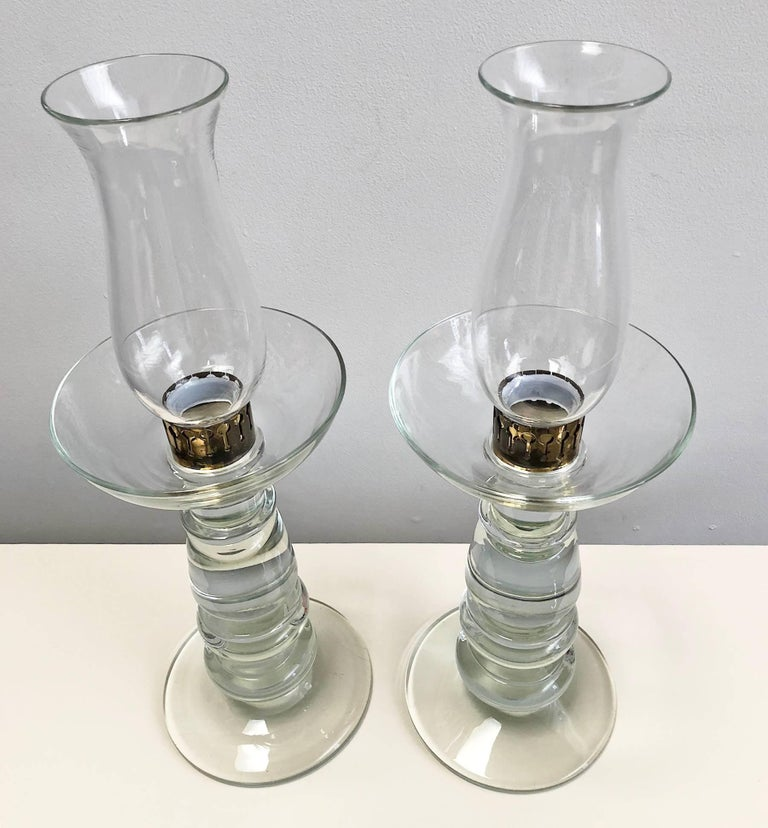 Hand-Crafted Pair of Glass Candleholders For Sale