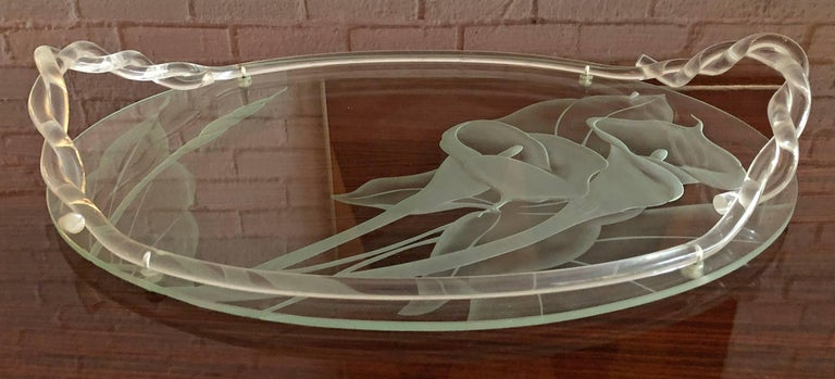 Mid-Century Modern Dorothy Thorpe Glass and Lucite Tray For Sale