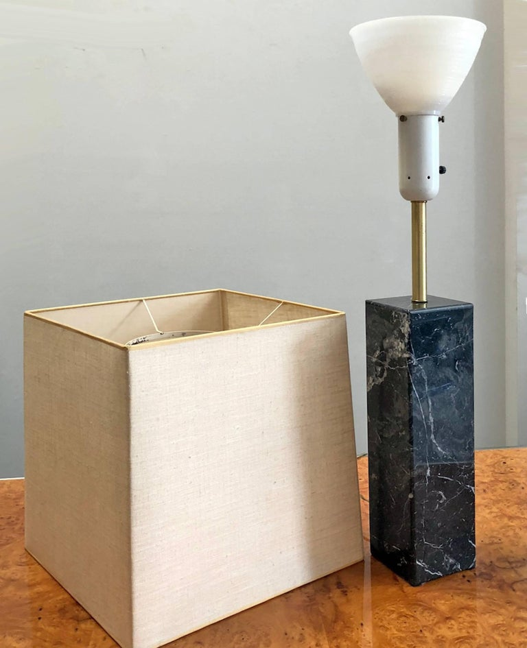 1950s marble table lamp designed by Walter Von Nessen. Original linen shade. All original condition.