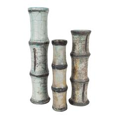 Three Ceramic Vases, Bamboo Pattern, Vallauris Raku