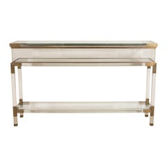 Lucite and Brass Console, France, circa 1960