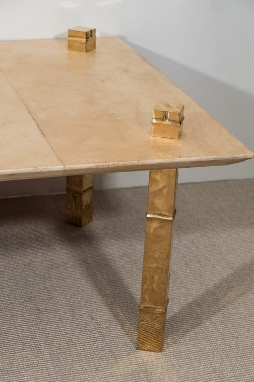 maison jansen attributed parchment coffee table with gold metal legs at 1stdibs. Black Bedroom Furniture Sets. Home Design Ideas