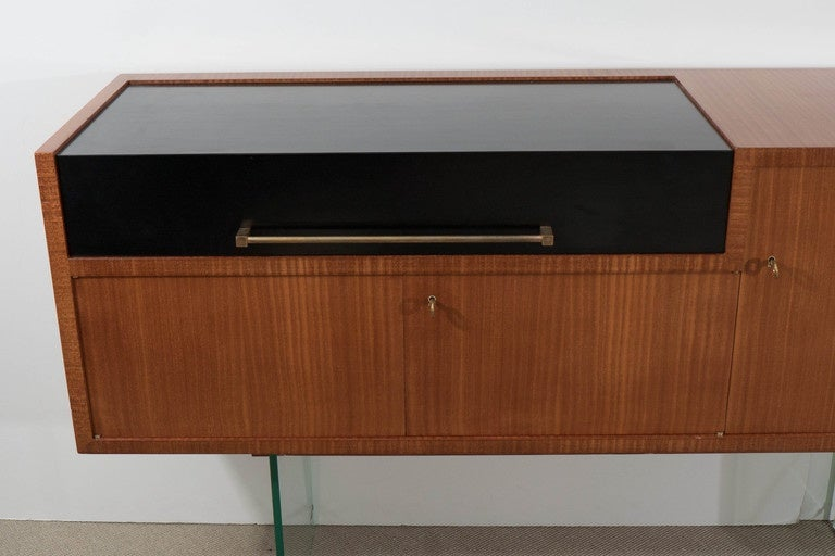 Jacques Dumond 'Attributed' Bar Console with Glass Supports, France, circa 1950 2