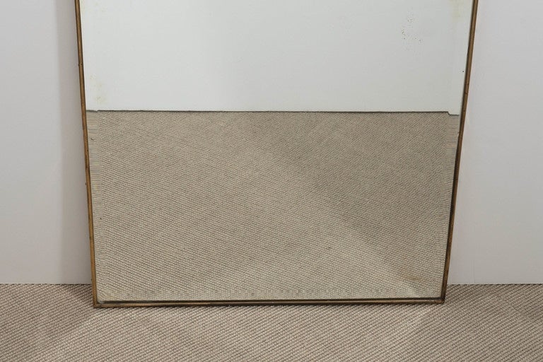 Mid-Century Italian Modern Bevelled Mirror with Brass Frame, Italy, circa 1950 In Excellent Condition For Sale In New York, NY
