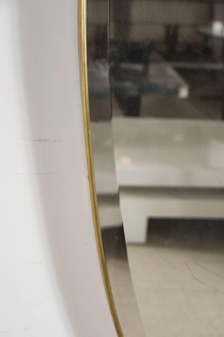 Beveled Midcentury Italian Modern Bevelled Mirror with Brass Frame For Sale