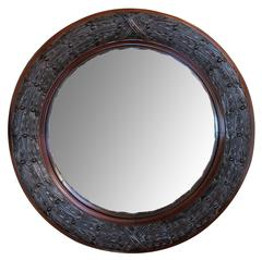 Well-Carved English Victorian Convex Mirror with Laurel Leaf Frame