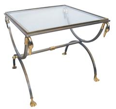 Good Quality French Brushed Steel & Brass Side table w Glass Top & Swan Supports