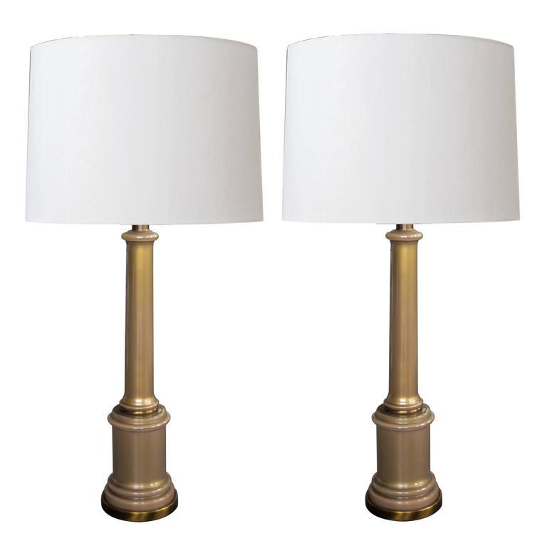 Good Pair of Hollywood Regency Mid-Century Columnar Lamps by Paul Hanson