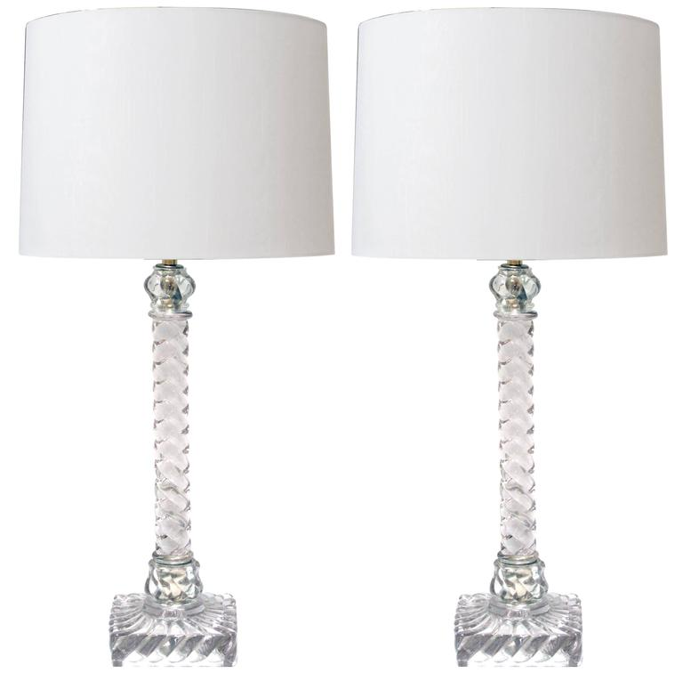 Good Quality Pair of American Lamps of Solid Spiraling Clear Glass For Sale