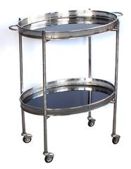 Elegant French Nickel-Plated Oval-Form Drinks/Bar Cart with Black Glass Trays