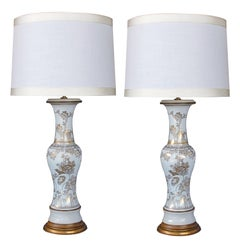 Elegant Pair of 19th Century Chinese Baluster-Form Porcelain Vases Now Lamps