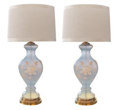 Ethereal Pair of American 1960s Frosted Ice-Blue Glass Baluster-Form Lamps
