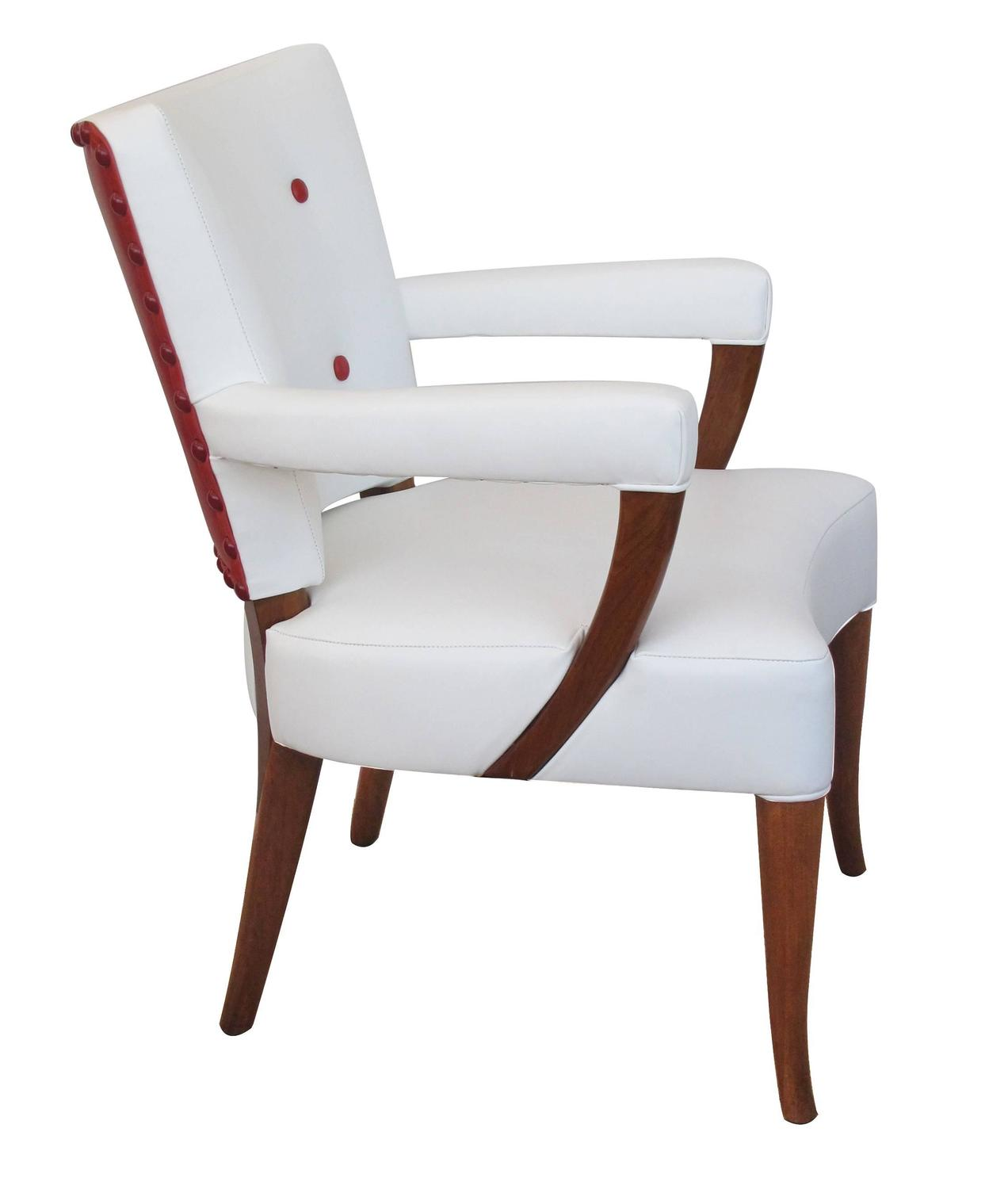 Stylish set of four american 1940s white and red leather for Red and white upholstered chairs